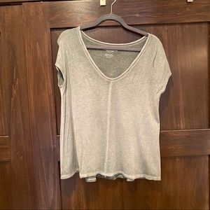 Distressed Army Green V Neck